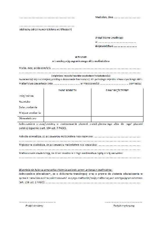 Wniosek o transkrypcje aktu malzenstwa